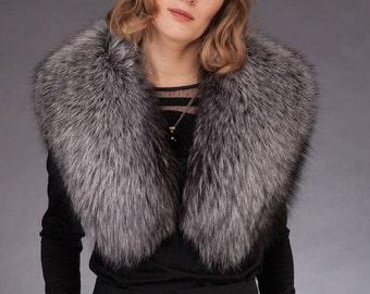 Handmade Genuine Silver Fox Fur Shoulder Wrap / Stole / Collar