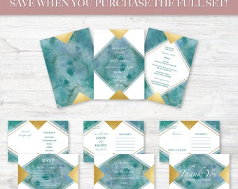 Wedding Invitation Suite, Digital Printable Customized File, Watercolor Turquoise and Faux Gold Foil