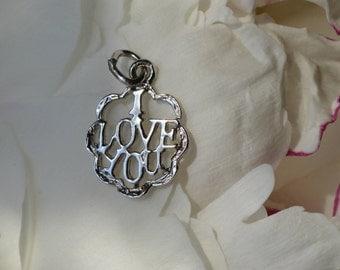 Vintage sterling silver I Love You charm pendant