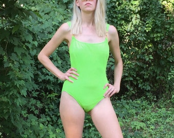 90s Lime Green Swimsuit - Textured One Piece by La Blanca - Gold Details