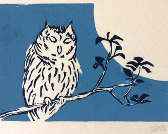 Linoprint of Owl and Moon - original artwork