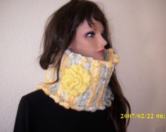 freeform crochet neck warmer, chunky cowl scarf with rose, one avail. color