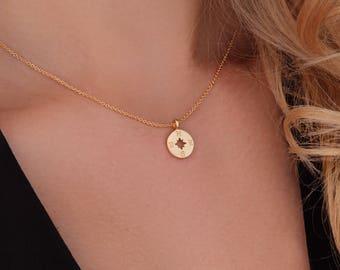 Compass Necklace Gold. Compass Pendant Necklace. Compass Charm Necklace
