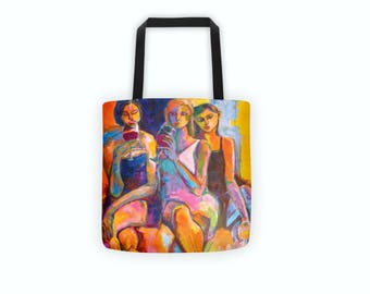 15 x 15 inch orange tote bag