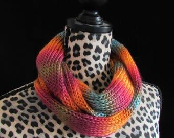 Handmade Knit Infinity Scarf - Simplistic Sunrise
