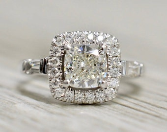 Cushion Brilliant in a Split-Prong Cushion Halo Baguette Accented Engagement Ring in White