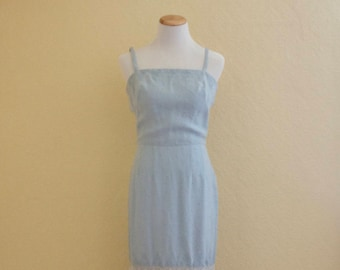 1950's Carlye powder blue linen swiss dot wiggle dress