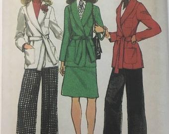 1970s Mega Flares Princess Seam Front Wrap Jacket Shawl Collar Skirt Simplicity 5197 Uncut FF Size 12 Bust 34 Women's Vintage Sewing Pattern