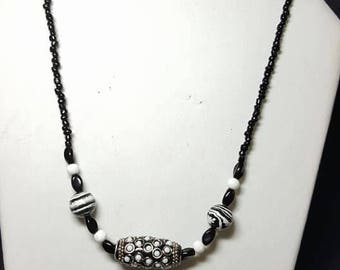 Black and White Glass Beaded Necklace with Silver Accents