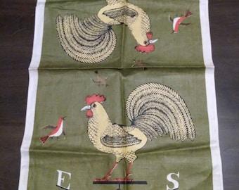 Vintage Pure Linen Rooster Weathervane Tea Towel