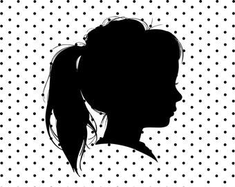 Silhouette Portrait, Custom Silhouette Portrait with Polka-Dot Pattern, Child's Silhouette Portrait, Girl's Portrait, Boy's Silhouette