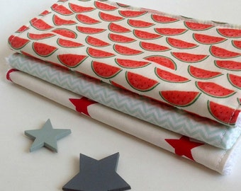 3 large washable baby wipes / discs cleansing.  Washable wipes, wipes, cotton make up, zero waste, watermelons.