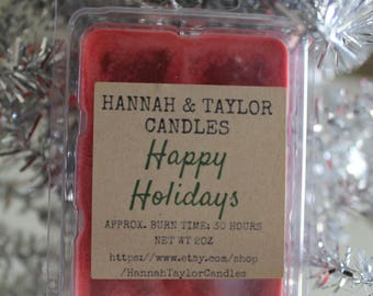Happy Holidays Winter Scent Wax Melt | Handmade Cinnamon Pinecones Wax Tart | Holiday Scented Wax Melt Clamshells | Christmas Soy Wax Melt