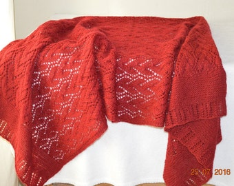 Hand knitted wool shawl