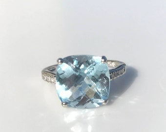 Blue Topaz Diamond Engagement Cocktail Ring, 14K White Gold, Checkerboard Top Cushion, 12mm Square, Valentine Gift for Her, Womens Jewelry