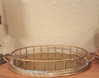 Bamboo style vintage brass tray. Rustic brass tray.