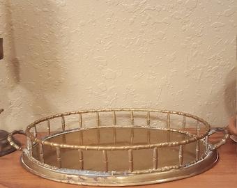 "Bamboo style vintage brass tray. Rustic brass tray. 14""x8.5"" boho brass tray"