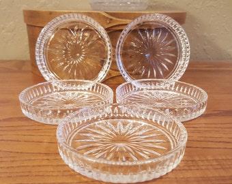 Vintage glass coaster set.  Set of 5, pressed glass, sunburst