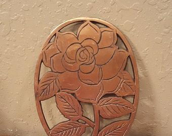 Vintage copper plated rose trivet / vintage rose hot pad / 1983 copper rose trivet.