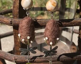 Petrified Wood Green Quartz Dragonfly Wool Dangle Earrings
