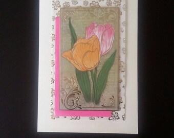 Tulip flowers greeting card blank inside