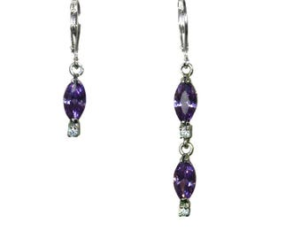 """Amethyst Marquise"" earrings asymmetric"