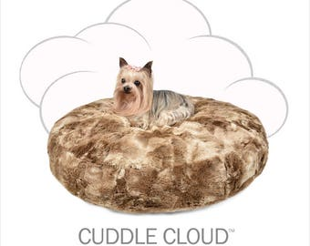 Peluche Plush Cuddle Cloud Round Bunny Cocoa Dog Bed