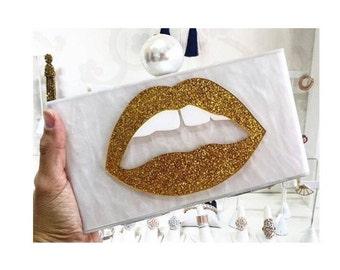 Gold lips acrylic clutch