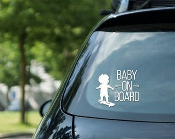 Car sticker Baby on board sign skateboarding, skater boy, vinyl on decal paper, car decal, kid on board