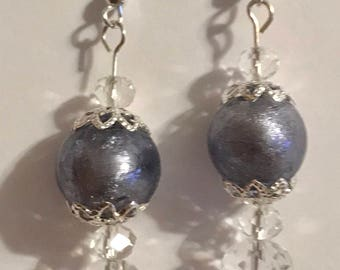 "Handmade Glass Bead Earrings Plum Color with Silver Plated Earwire 1 1/2"" Long"