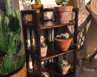 Vintage Brown rattan 3 shelf levels