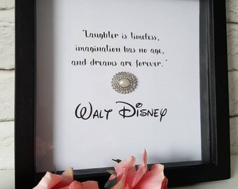 Disney inspired quote box frame with sparkly pearl crystal embellishment. For stylish homes, gifts, birthday, Christmas, anniversary
