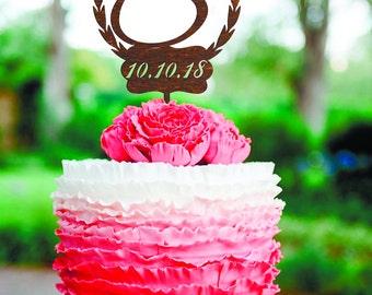 Letter S Cake Topper Date Gold Monogram Wedding Cake Topper Wood Letter Wedding Cake Topper wreath cake topper Custom Cake Topper Letter S В
