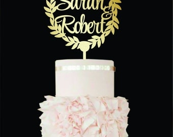Wedding Cake Topper Wreath Names Unique wedding cake topper gold Personalized Cake Toppers Custom cake topper wood Cake topper with name