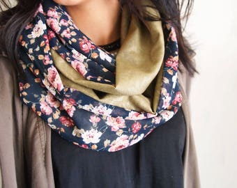 Snood collar double mid-season, Baroque and floral patterns khaki