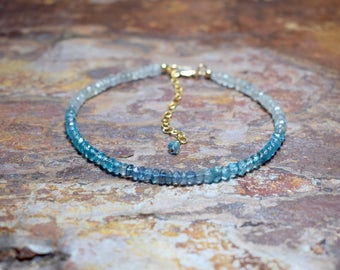 Ombre Aquamarine & Apatite Gold Bracelet, March Birthstone, 14k Gold Filled Blue Gemstone Bracelet, Handmade Jewellery UK, Natural Gemstone