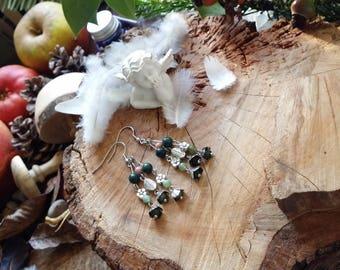 Boucles d'oreilles en Agates indiennes, boucle en acier et pièces en métal argenté par AngelS SignS