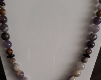 Necklace Amethyst Plain and Faceted Round Beads with Black Onyx Disc Spacers Silver plated bolt ring clasp