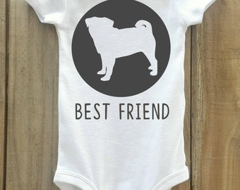 Pug Baby Bodysuit, Pug Best Friend, Pug Shirt, Dog Breed Shirt, Dog Lover Gift, Dog Breed Gift, Pug Baby Clothes, Dog Breed Bodysuit,