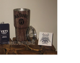 JACK DANIELS 30oz Yeti Rambler Choose size and color,Personalized Yeti tumbler cup Wood old no7