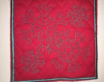 Embroidered Mug Rugs, coasters