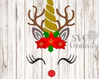 Reindeer Unicorn SVG, Rudolph Unicorn SVG, Reindeer SVG