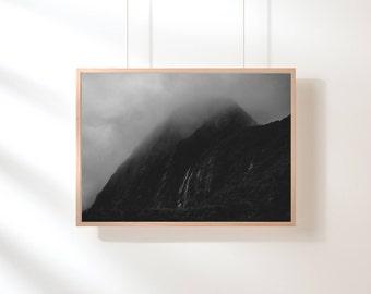 Nordic Mountain Printable, Mountain Print, Minimalist, Black and White, Mountain Range, Printable Art, Nature Landscape, Scandinavian Poster