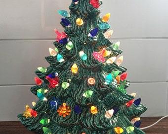 """DCS Ceramic Christmas Tree with lights - 13"""" Tall - Shiny Green Tree - Handmade in Maryland"""