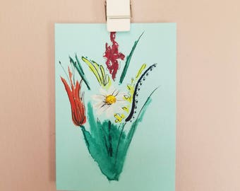 Watercolor floral blank card