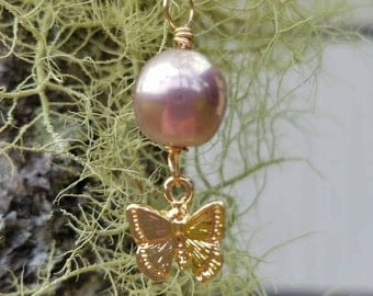 Pink Edison pearl with butterfly charm necklace