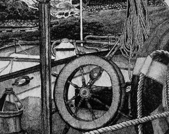 Docked Boat Wheel Pen & Ink Print