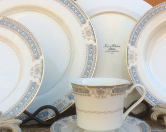 27pc Dinnerware Set Ivory China Mikasa L2808 Lexington | 6 Dinner Plates - 6 Salad Bowls - 6 Bread & Butter Plates - 5 Saucers  - 4 Teacups