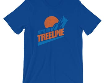 Above The Treeline (Orange/Blue), An Outdoor Hiking and Mountain Biking T-shirt for the Adventurer