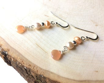 Peach Moonstone Earrings, Silver Moonstone and Pearls, Dainty Freshwater Pearls, Wire Wrapped Gemstone Dangles, Sterling Silver Ear Wires